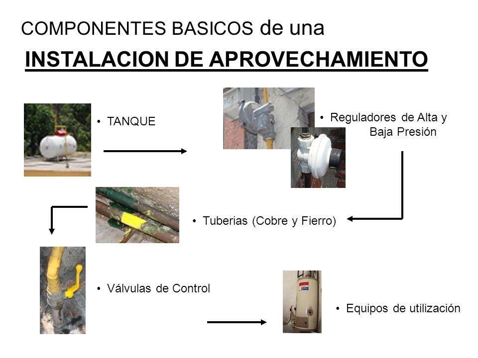COMPONENTES BASICOS de una INSTALACION DE APROVECHAMIENTO TANQUE Reguladores de Alta y Baja Presión Tuberias (Cobre y Fierro) Válvulas de Control Equi