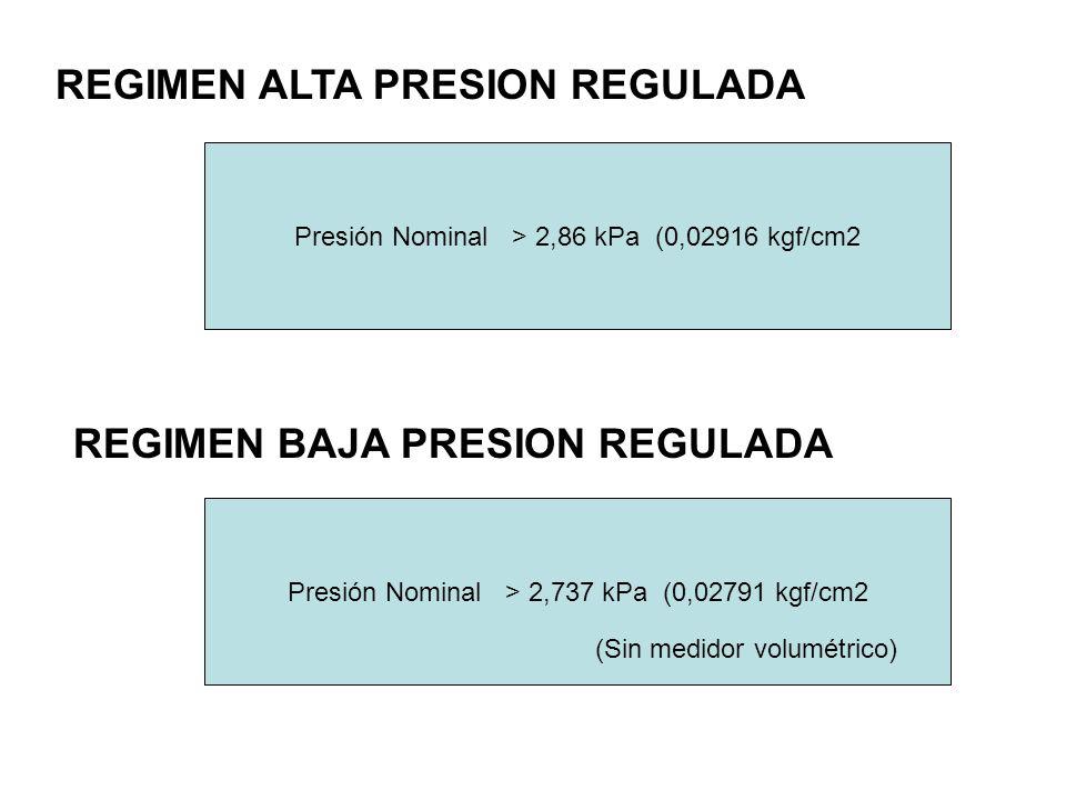 REGIMEN ALTA PRESION REGULADA REGIMEN BAJA PRESION REGULADA Presión Nominal > 2,86 kPa (0,02916 kgf/cm2 Presión Nominal > 2,737 kPa (0,02791 kgf/cm2 (