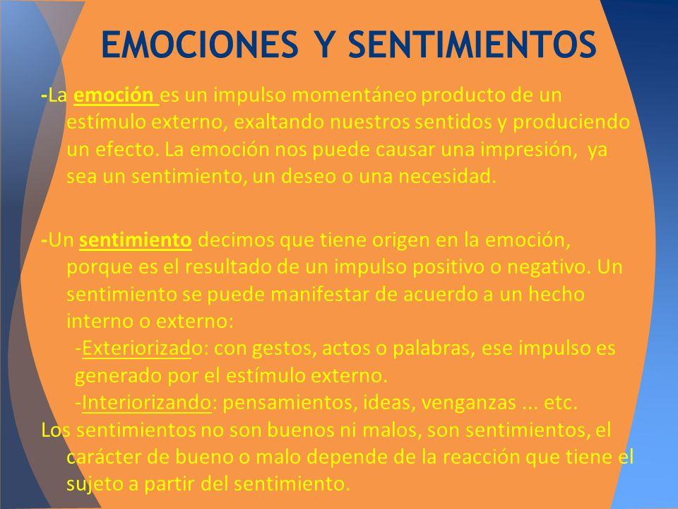 -La emoción es un impulso momentáneo producto de un estímulo externo, exaltando nuestros sentidos y produciendo un efecto. La emoción nos puede causar