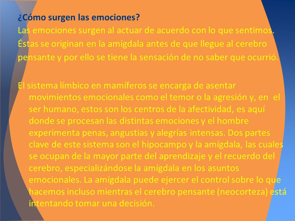 ¿Cómo surgen las emociones? Las emociones surgen al actuar de acuerdo con lo que sentimos. Éstas se originan en la amígdala antes de que llegue al cer