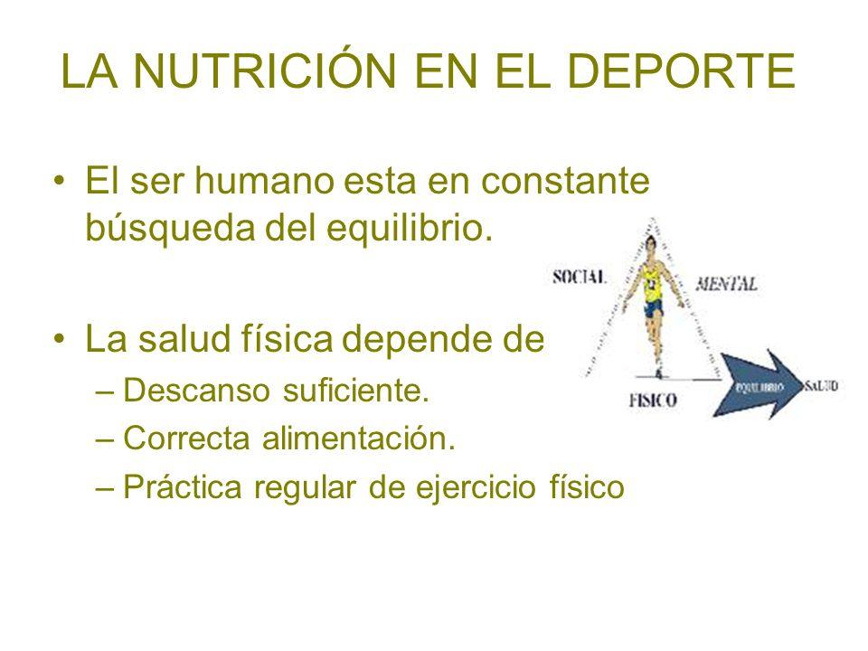 LA NUTRICIÓN EN EL DEPORTE El ser humano esta en constante búsqueda del equilibrio. La salud física depende de –Descanso suficiente. –Correcta aliment