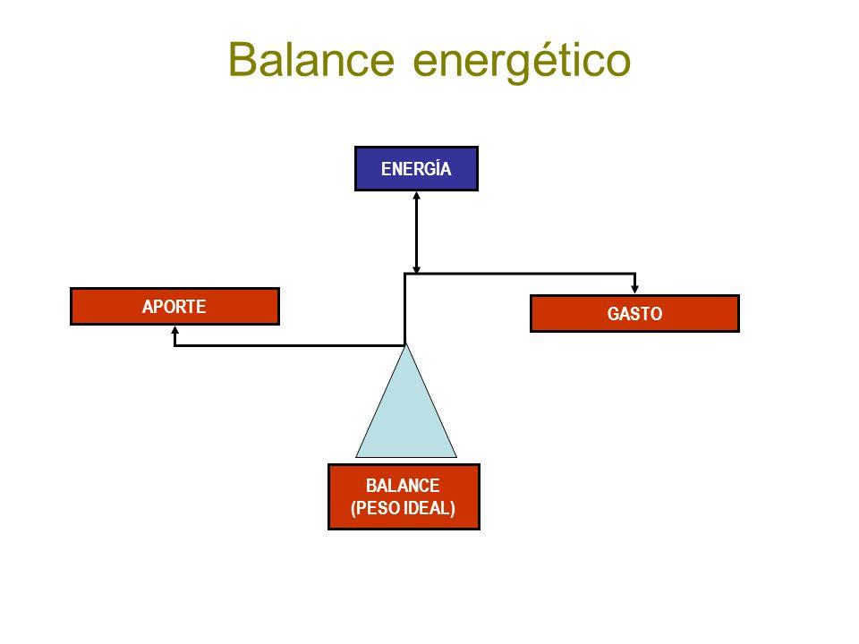 Balance energético APORTE BALANCE (PESO IDEAL) GASTO ENERGÍA