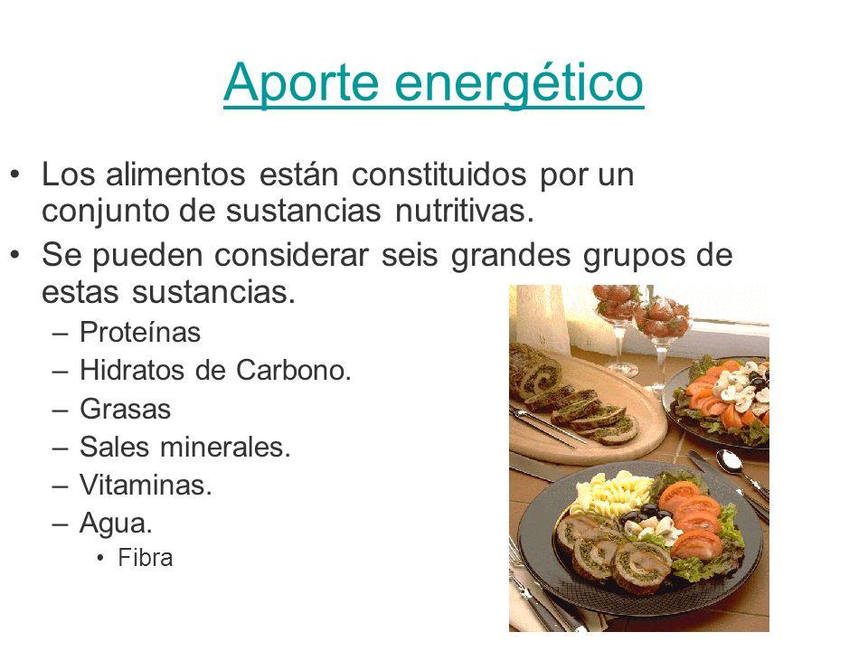 Aporte energético Los alimentos están constituidos por un conjunto de sustancias nutritivas. Se pueden considerar seis grandes grupos de estas sustanc