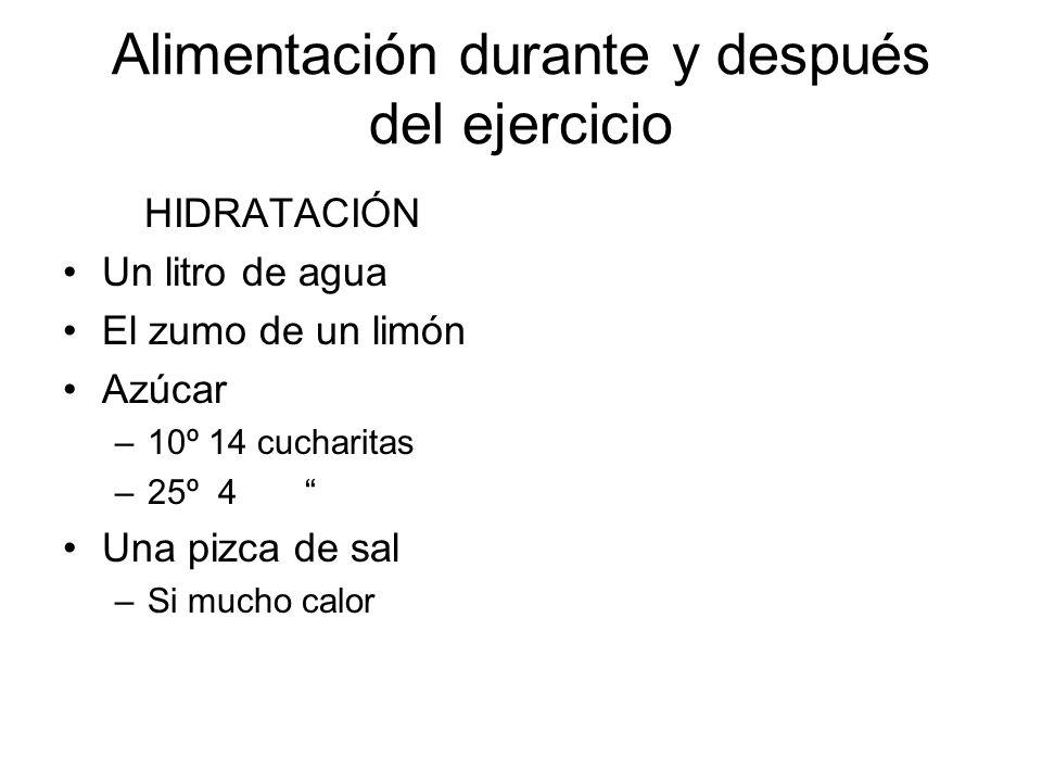 Alimentación durante y después del ejercicio HIDRATACIÓN Un litro de agua El zumo de un limón Azúcar –10º 14 cucharitas –25º 4 Una pizca de sal –Si mu