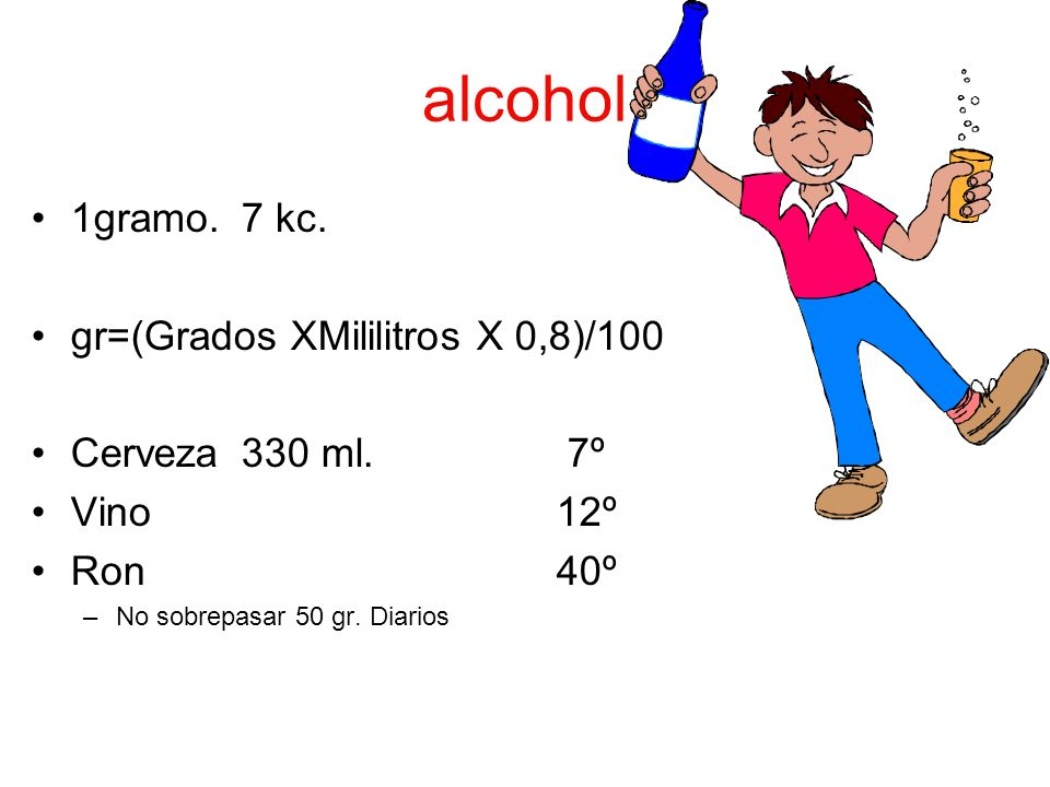 alcohol 1gramo.7 kc. gr=(Grados XMililitros X 0,8)/100 Cerveza330 ml. 7º Vino12º Ron40º –No sobrepasar 50 gr. Diarios