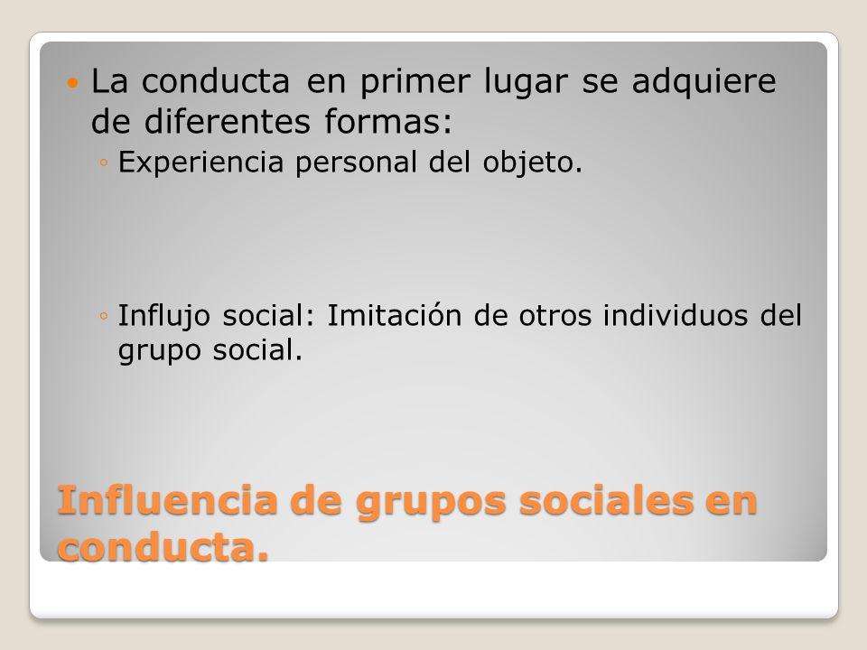 Influencia de grupos sociales en conducta. La conducta en primer lugar se adquiere de diferentes formas: Experiencia personal del objeto. Influjo soci