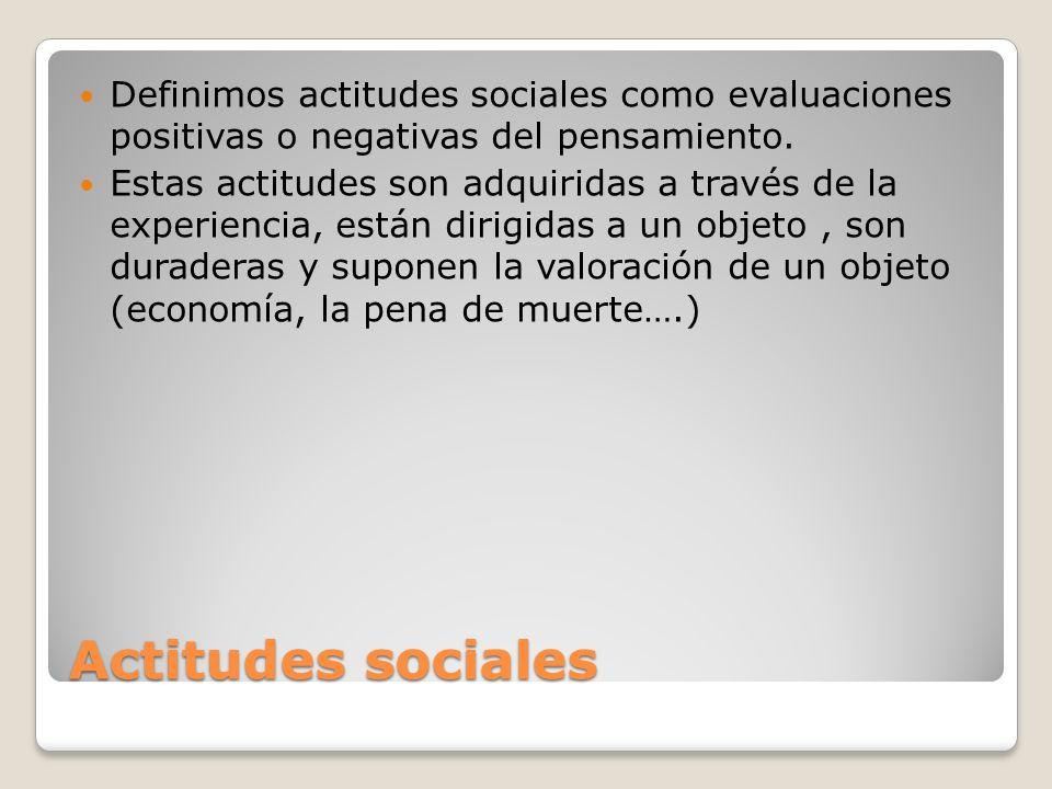 Actitudes sociales Definimos actitudes sociales como evaluaciones positivas o negativas del pensamiento. Estas actitudes son adquiridas a través de la