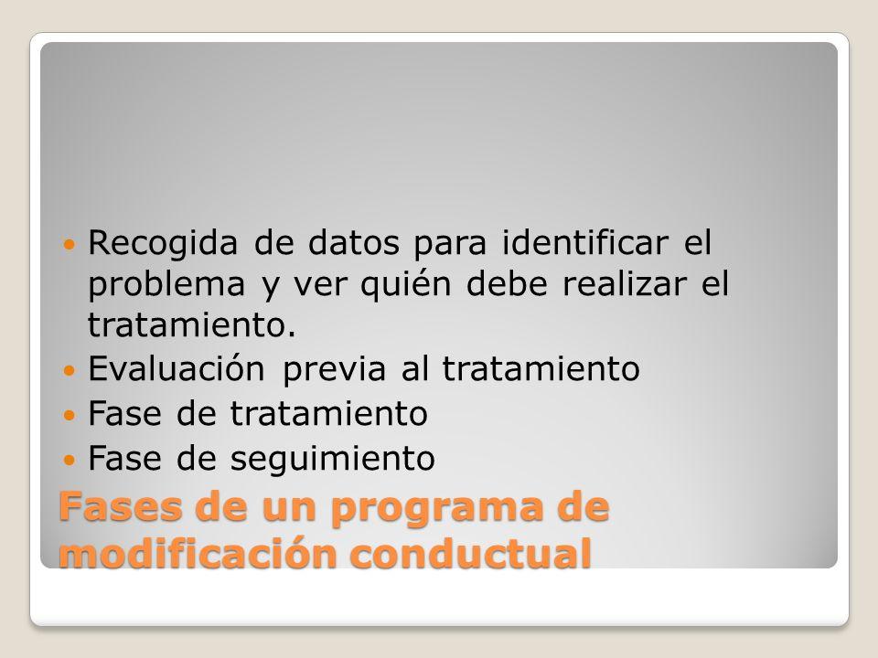 Fases de un programa de modificación conductual Recogida de datos para identificar el problema y ver quién debe realizar el tratamiento. Evaluación pr