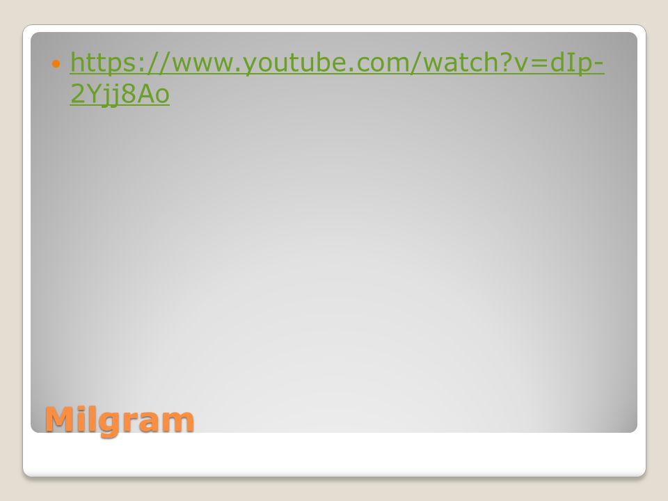 Milgram https://www.youtube.com/watch?v=dIp- 2Yjj8Ao https://www.youtube.com/watch?v=dIp- 2Yjj8Ao