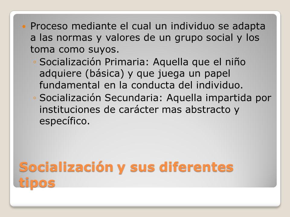 Socialización y sus diferentes tipos Proceso mediante el cual un individuo se adapta a las normas y valores de un grupo social y los toma como suyos.