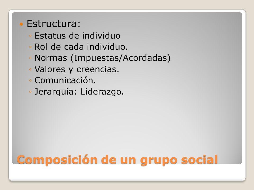 Composición de un grupo social Estructura: Estatus de individuo Rol de cada individuo. Normas (Impuestas/Acordadas) Valores y creencias. Comunicación.