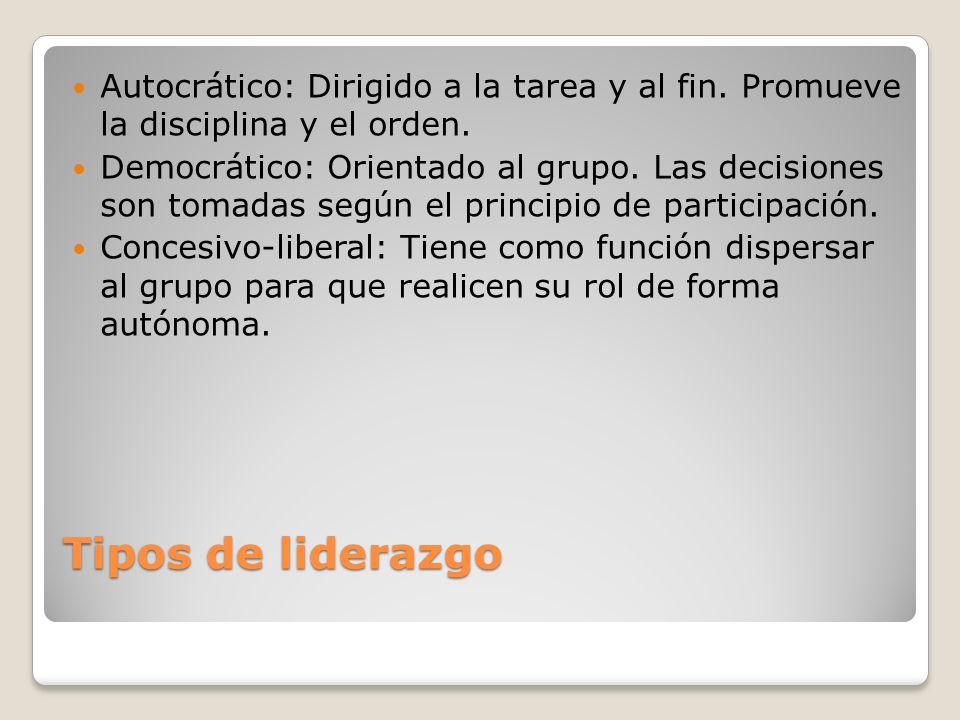 Tipos de liderazgo Autocrático: Dirigido a la tarea y al fin. Promueve la disciplina y el orden. Democrático: Orientado al grupo. Las decisiones son t