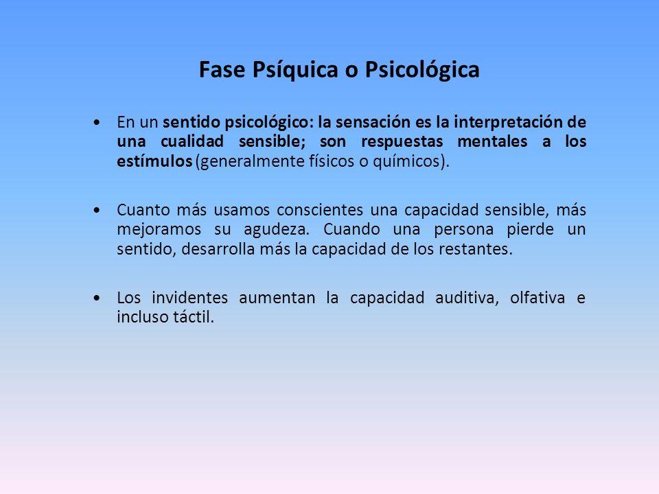Fase Psíquica o Psicológica En un sentido psicológico: la sensación es la interpretación de una cualidad sensible; son respuestas mentales a los estím