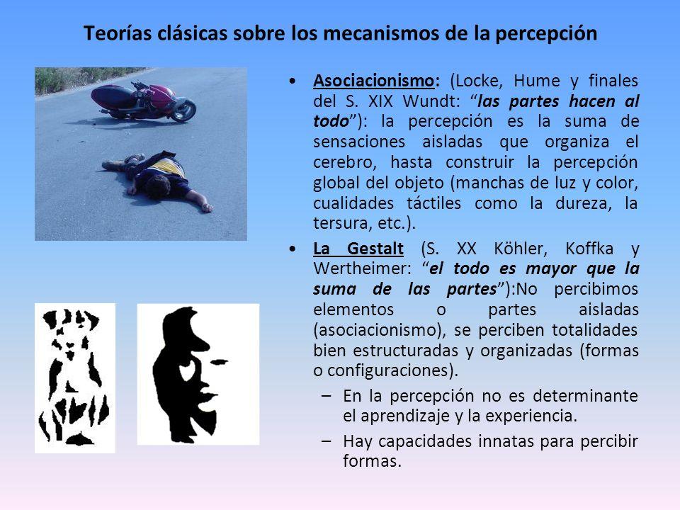 Teorías clásicas sobre los mecanismos de la percepción Asociacionismo: (Locke, Hume y finales del S. XIX Wundt: las partes hacen al todo): la percepci