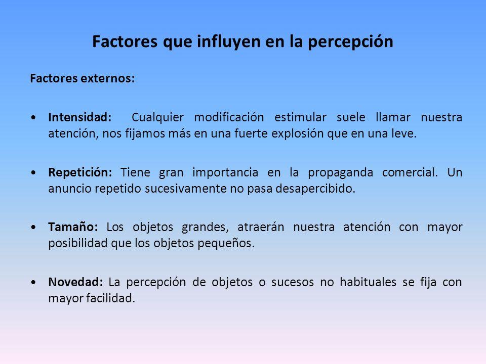 Factores que influyen en la percepción Factores externos: Intensidad: Cualquier modificación estimular suele llamar nuestra atención, nos fijamos más