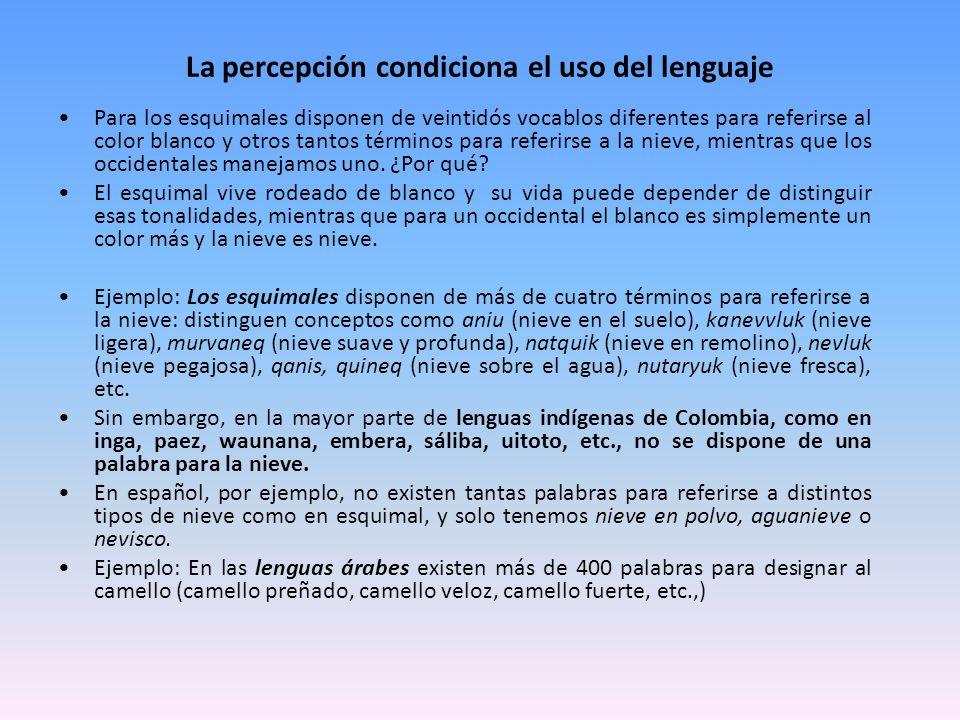 La percepción condiciona el uso del lenguaje Para los esquimales disponen de veintidós vocablos diferentes para referirse al color blanco y otros tant