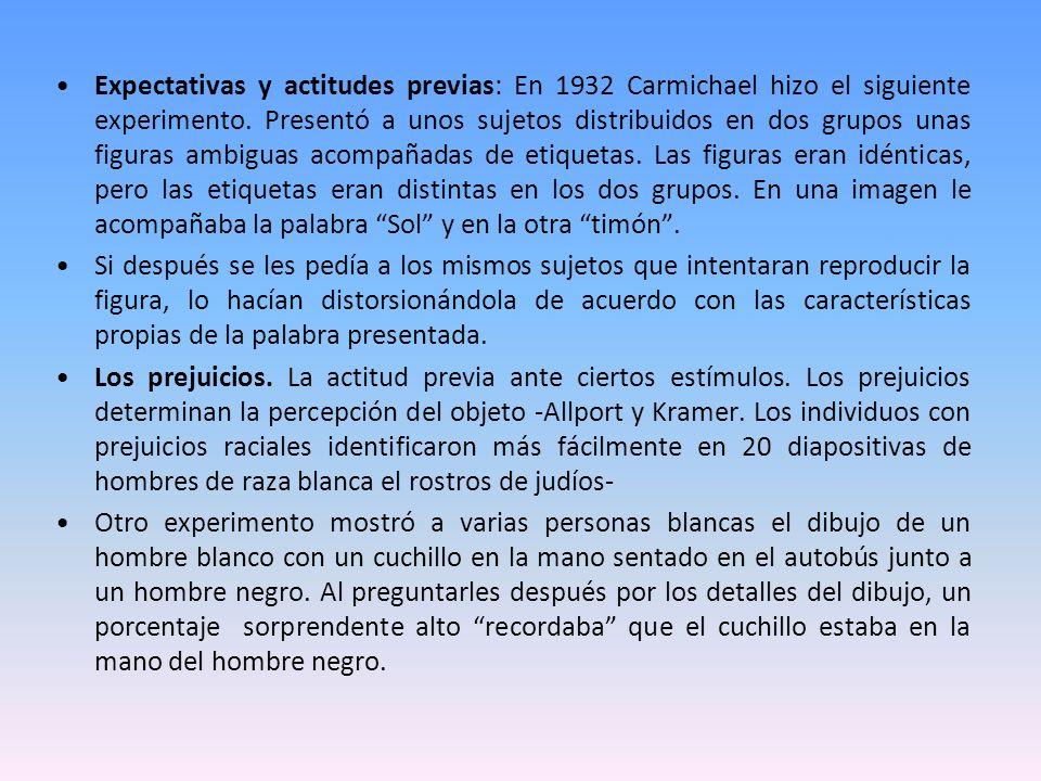 Expectativas y actitudes previas: En 1932 Carmichael hizo el siguiente experimento. Presentó a unos sujetos distribuidos en dos grupos unas figuras am