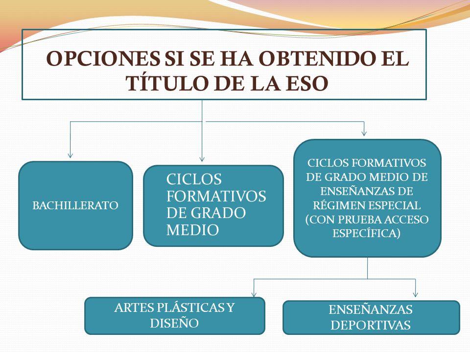 OPCIONES SI SE HA OBTENIDO EL TÍTULO DE LA ESO BACHILLERATO CICLOS FORMATIVOS DE GRADO MEDIO CICLOS FORMATIVOS DE GRADO MEDIO DE ENSEÑANZAS DE RÉGIMEN ESPECIAL (CON PRUEBA ACCESO ESPECÍFICA) ARTES PLÁSTICAS Y DISEÑO ENSEÑANZAS DEPORTIVAS