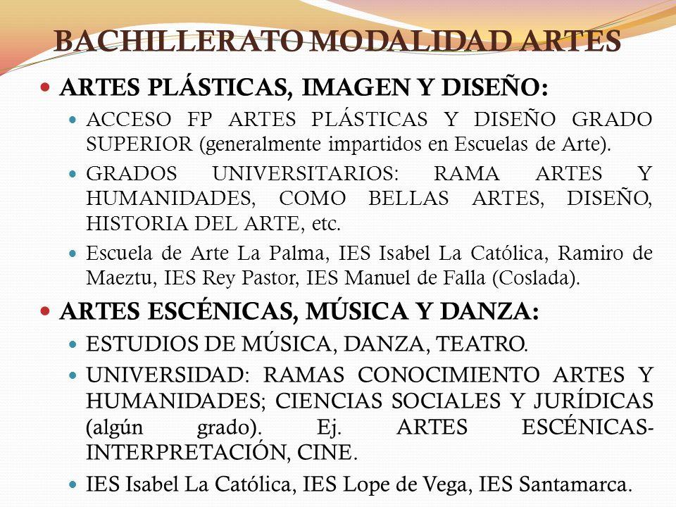 BACHILLERATO MODALIDAD ARTES ARTES PLÁSTICAS, IMAGEN Y DISEÑO: ACCESO FP ARTES PLÁSTICAS Y DISEÑO GRADO SUPERIOR (generalmente impartidos en Escuelas