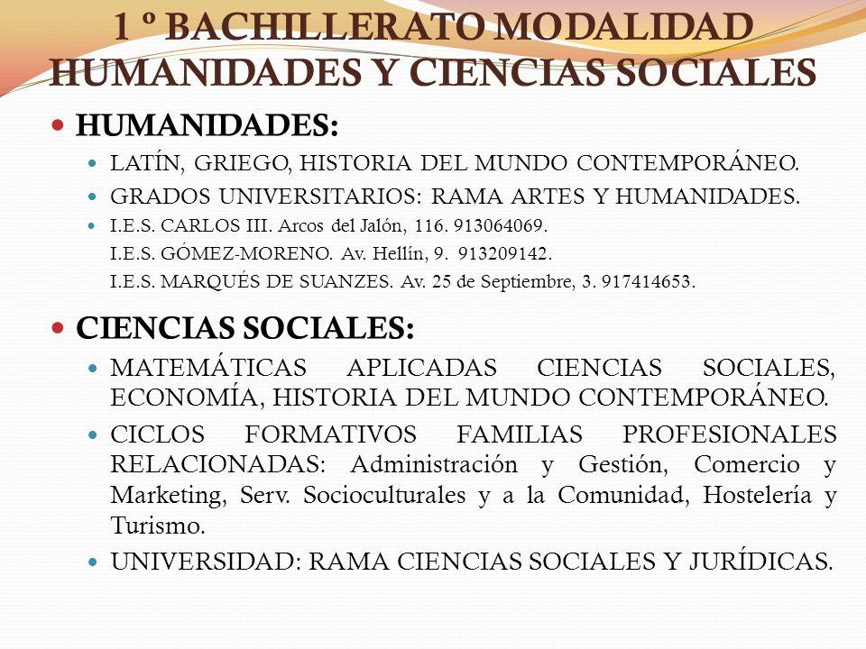 1 º BACHILLERATO MODALIDAD HUMANIDADES Y CIENCIAS SOCIALES HUMANIDADES: LATÍN, GRIEGO, HISTORIA DEL MUNDO CONTEMPORÁNEO. GRADOS UNIVERSITARIOS: RAMA A
