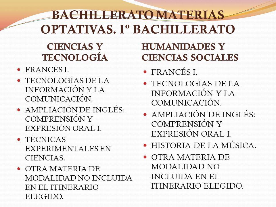 BACHILLERATO MATERIAS OPTATIVAS. 1º BACHILLERATO CIENCIAS Y TECNOLOGÍA HUMANIDADES Y CIENCIAS SOCIALES FRANCÉS I. TECNOLOGÍAS DE LA INFORMACIÓN Y LA C