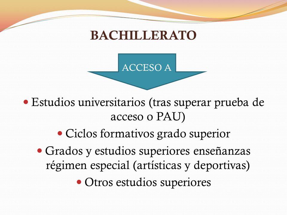 BACHILLERATO Estudios universitarios (tras superar prueba de acceso o PAU) Ciclos formativos grado superior Grados y estudios superiores enseñanzas ré
