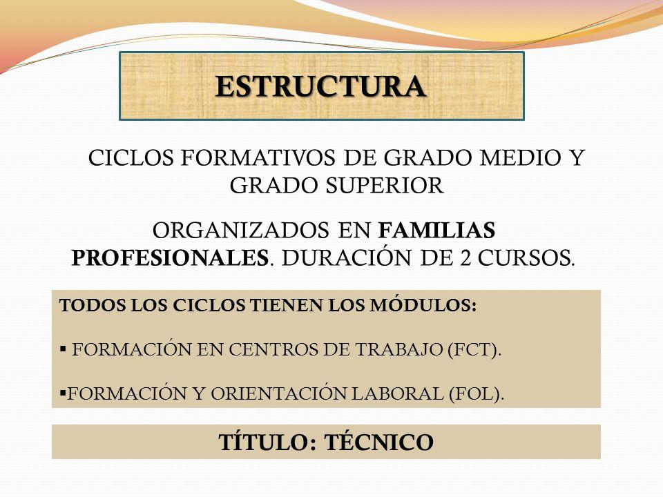 ESTRUCTURA CICLOS FORMATIVOS DE GRADO MEDIO Y GRADO SUPERIOR ORGANIZADOS EN FAMILIAS PROFESIONALES. DURACIÓN DE 2 CURSOS. TODOS LOS CICLOS TIENEN LOS