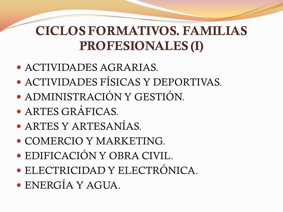 CICLOS FORMATIVOS. FAMILIAS PROFESIONALES (I) ACTIVIDADES AGRARIAS. ACTIVIDADES FÍSICAS Y DEPORTIVAS. ADMINISTRACIÓN Y GESTIÓN. ARTES GRÁFICAS. ARTES