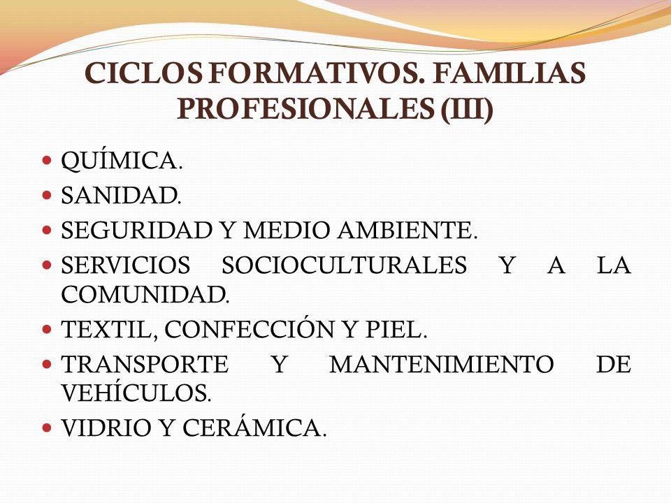 CICLOS FORMATIVOS. FAMILIAS PROFESIONALES (III) QUÍMICA. SANIDAD. SEGURIDAD Y MEDIO AMBIENTE. SERVICIOS SOCIOCULTURALES Y A LA COMUNIDAD. TEXTIL, CONF