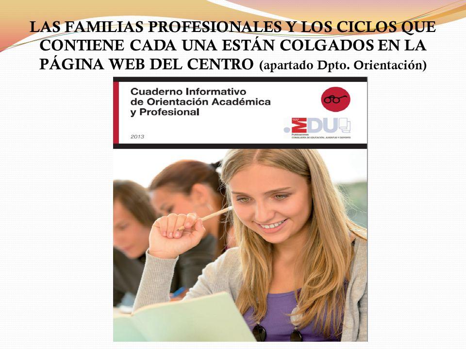 LAS FAMILIAS PROFESIONALES Y LOS CICLOS QUE CONTIENE CADA UNA ESTÁN COLGADOS EN LA PÁGINA WEB DEL CENTRO (apartado Dpto.