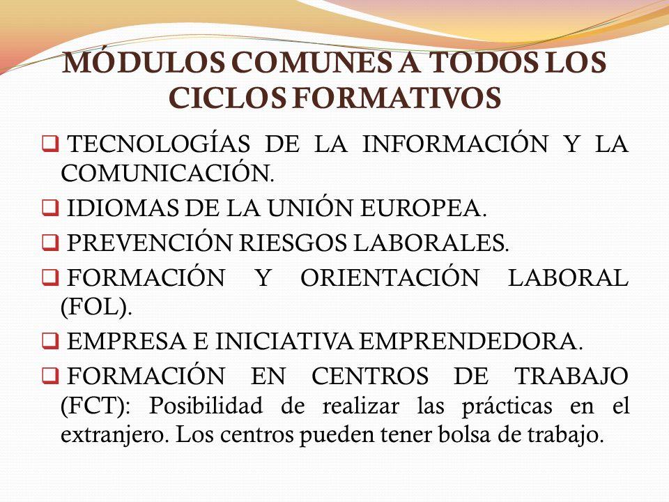 MÓDULOS COMUNES A TODOS LOS CICLOS FORMATIVOS TECNOLOGÍAS DE LA INFORMACIÓN Y LA COMUNICACIÓN. IDIOMAS DE LA UNIÓN EUROPEA. PREVENCIÓN RIESGOS LABORAL