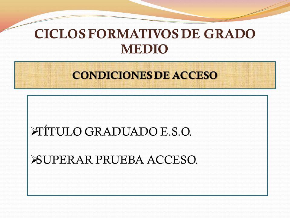CICLOS FORMATIVOS DE GRADO MEDIO CONDICIONES DE ACCESO TÍTULO GRADUADO E.S.O. SUPERAR PRUEBA ACCESO.