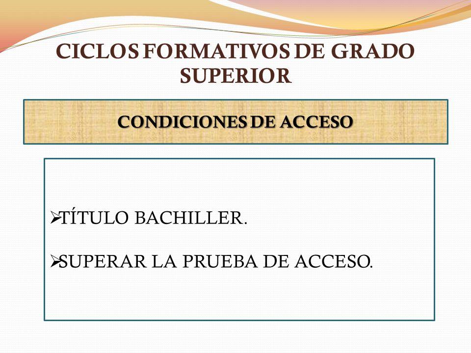 CICLOS FORMATIVOS DE GRADO SUPERIOR CONDICIONES DE ACCESO TÍTULO BACHILLER. SUPERAR LA PRUEBA DE ACCESO.