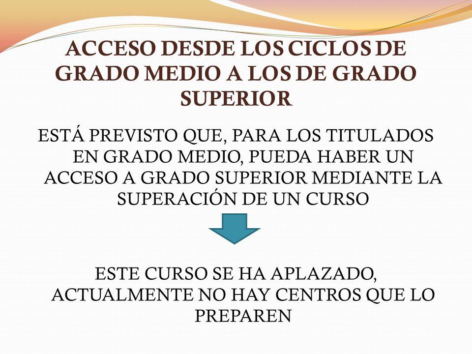 ACCESO DESDE LOS CICLOS DE GRADO MEDIO A LOS DE GRADO SUPERIOR ESTÁ PREVISTO QUE, PARA LOS TITULADOS EN GRADO MEDIO, PUEDA HABER UN ACCESO A GRADO SUPERIOR MEDIANTE LA SUPERACIÓN DE UN CURSO ESTE CURSO SE HA APLAZADO, ACTUALMENTE NO HAY CENTROS QUE LO PREPAREN