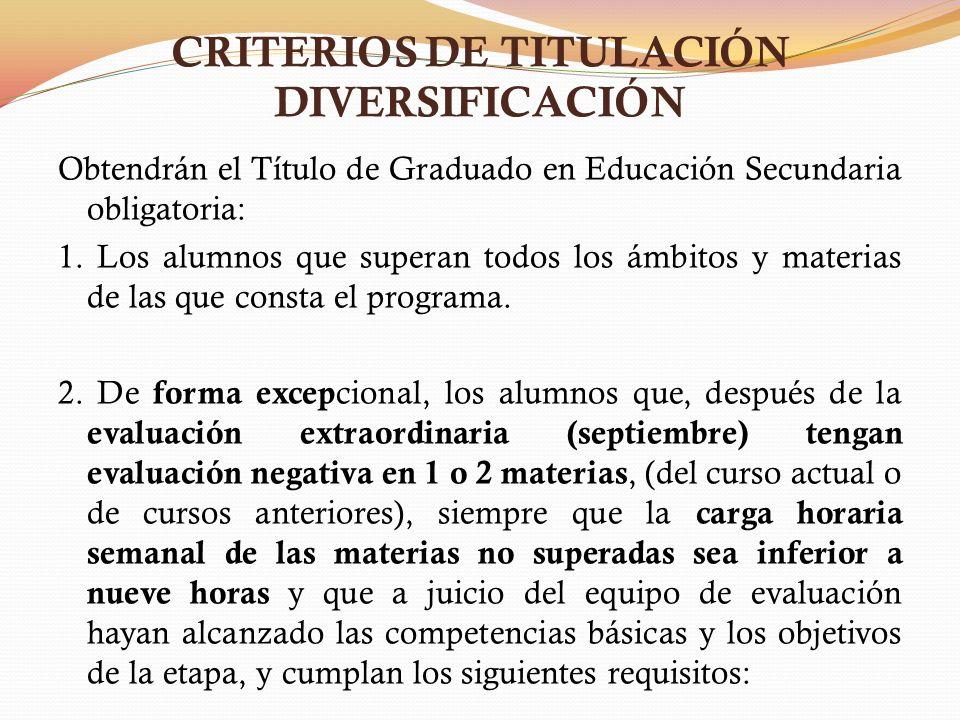 CRITERIOS DE TITULACIÓN DIVERSIFICACIÓN Obtendrán el Título de Graduado en Educación Secundaria obligatoria: 1. Los alumnos que superan todos los ámbi