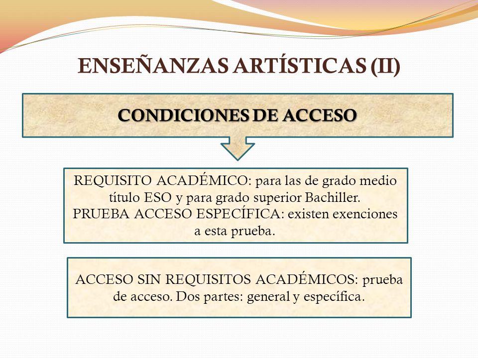 ENSEÑANZAS ARTÍSTICAS (II) CONDICIONESDE ACCESO CONDICIONES DE ACCESO REQUISITO ACADÉMICO: para las de grado medio título ESO y para grado superior Ba