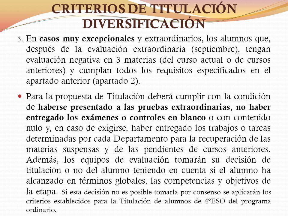 CRITERIOS DE TITULACIÓN DIVERSIFICACIÓN 3. En casos muy excepcionales y extraordinarios, los alumnos que, después de la evaluación extraordinaria (sep