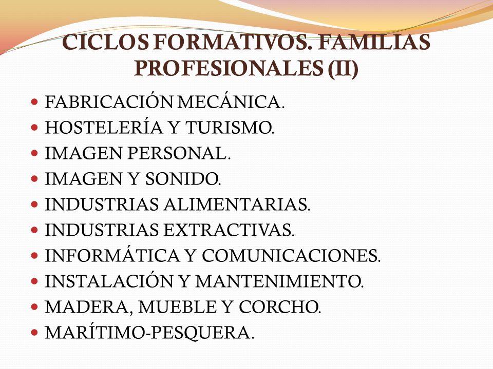 CICLOS FORMATIVOS. FAMILIAS PROFESIONALES (II) FABRICACIÓN MECÁNICA. HOSTELERÍA Y TURISMO. IMAGEN PERSONAL. IMAGEN Y SONIDO. INDUSTRIAS ALIMENTARIAS.
