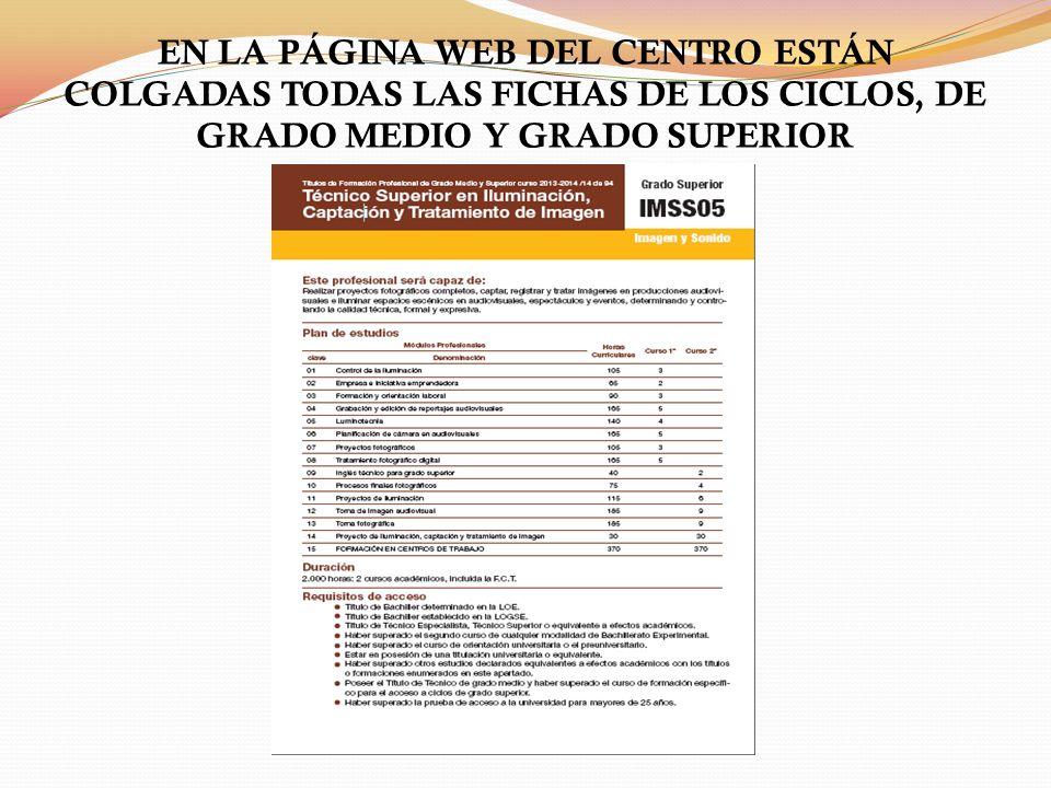 EN LA PÁGINA WEB DEL CENTRO ESTÁN COLGADAS TODAS LAS FICHAS DE LOS CICLOS, DE GRADO MEDIO Y GRADO SUPERIOR