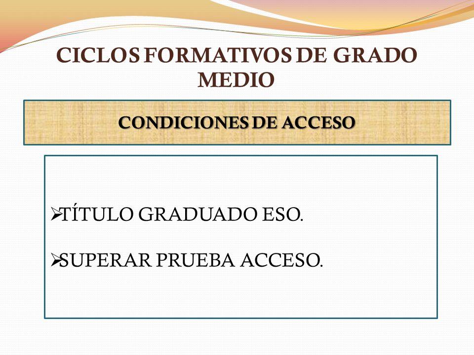 CICLOS FORMATIVOS DE GRADO MEDIO CONDICIONES DE ACCESO TÍTULO GRADUADO ESO. SUPERAR PRUEBA ACCESO.