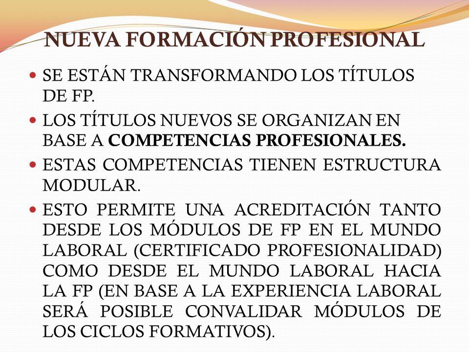 NUEVA FORMACIÓN PROFESIONAL SE ESTÁN TRANSFORMANDO LOS TÍTULOS DE FP. LOS TÍTULOS NUEVOS SE ORGANIZAN EN BASE A COMPETENCIAS PROFESIONALES. ESTAS COMP