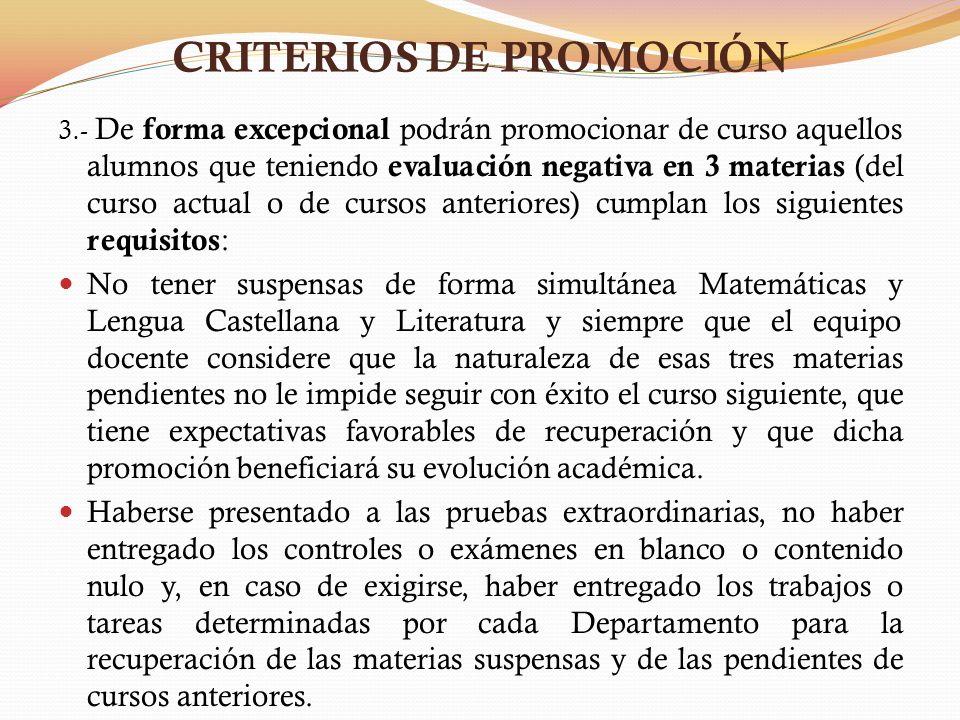 CRITERIOS DE PROMOCIÓN Promoción excepcional con evaluación negativa en 3 materias (continuación): Haber obtenido una nota media no inferior a 3 en las calificaciones de las materias suspensas, o bien, obtener una nota media de 5 entre todas las materias evaluadas durante el curso.