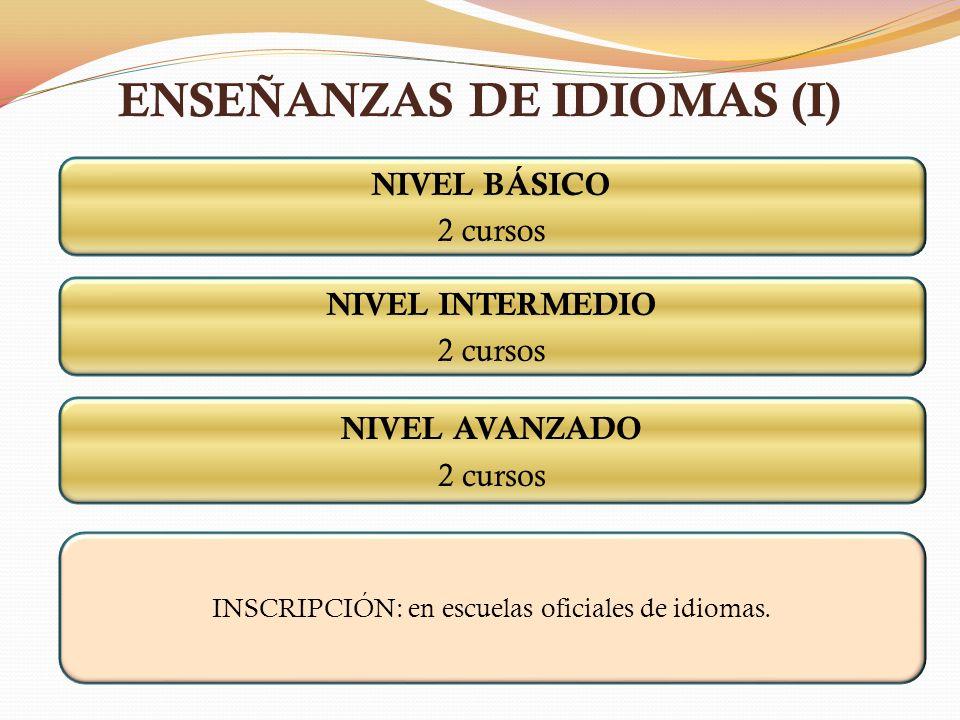 ENSEÑANZAS DE IDIOMAS (I) NIVEL BÁSICO 2 cursos NIVEL INTERMEDIO 2 cursos NIVEL AVANZADO 2 cursos INSCRIPCIÓN: en escuelas oficiales de idiomas.