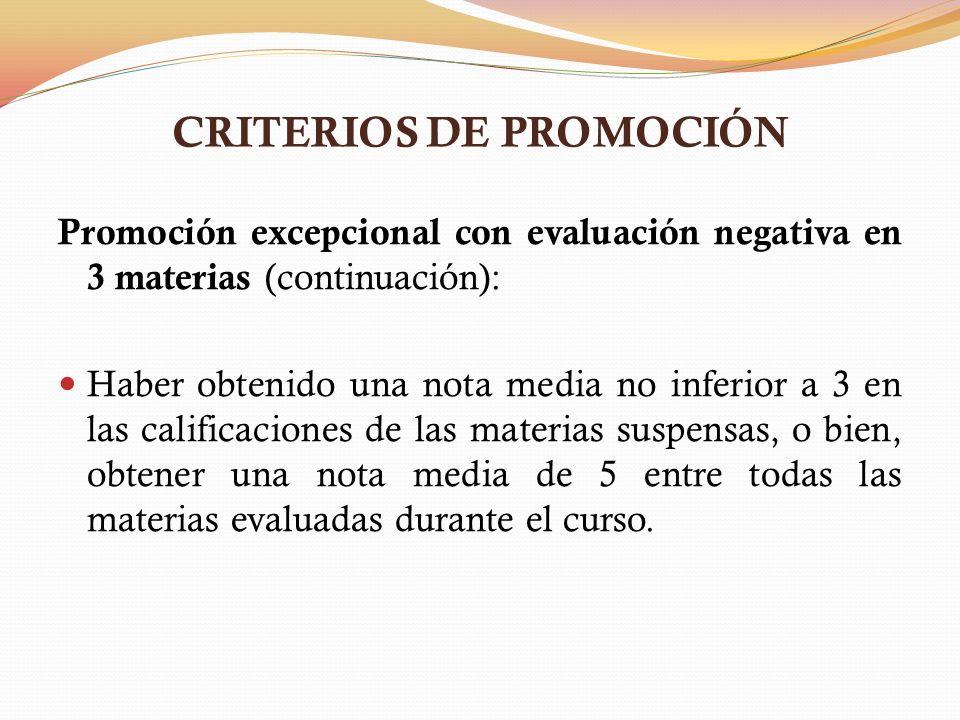 CRITERIOS DE PROMOCIÓN Promoción excepcional con evaluación negativa en 3 materias (continuación): Haber obtenido una nota media no inferior a 3 en la