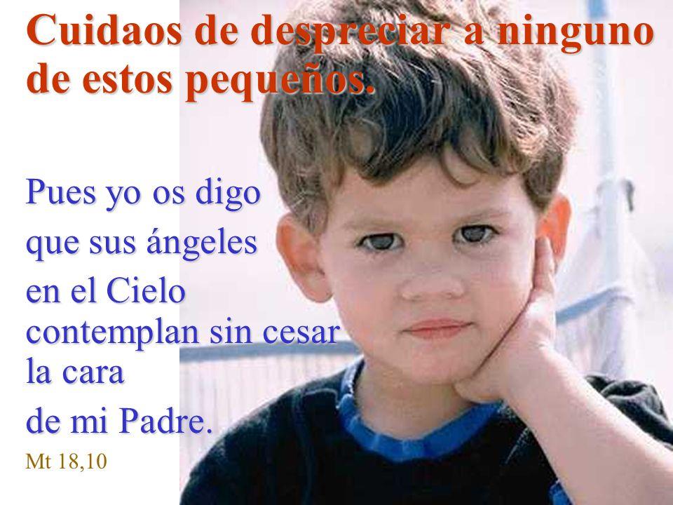 Cuidaos de despreciar a ninguno de estos pequeños. Pues yo os digo que sus ángeles en el Cielo contemplan sin cesar la cara de mi Padre. Mt 18,10