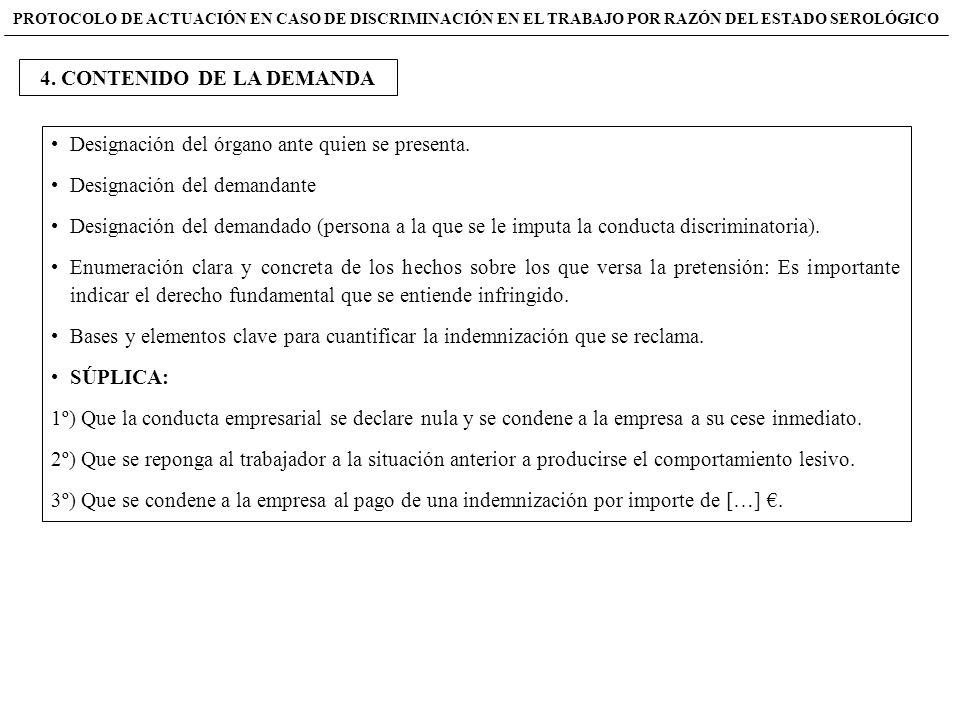 Designación del órgano ante quien se presenta. Designación del demandante Designación del demandado (persona a la que se le imputa la conducta discrim