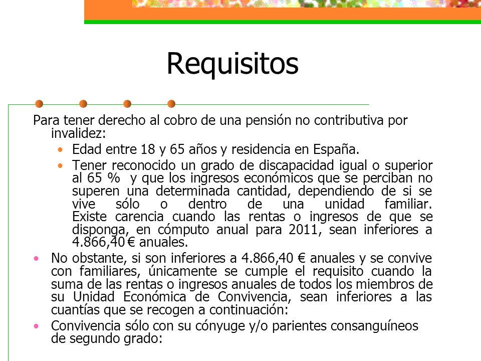 Requisitos Para tener derecho al cobro de una pensión no contributiva por invalidez: Edad entre 18 y 65 años y residencia en España. Tener reconocido