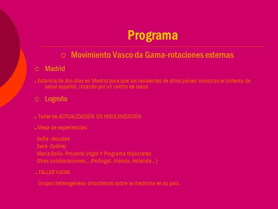Programa Movimiento Vasco da Gama-rotaciones externas Madrid Estancia de dos días en Madrid para que los residentes de otros países conozcan el sistema de salud español, rotando por un centro de salud Logroño Taller de ACTUALIZACIÓN EN INSULINIZACIÓN Mesa de experiencias: Sofía -Houston Sara -Sydney María Solís- Proyecto Vdgm Y Programa Hipócrates Otras colaboraciones… (Portugal, Irlanda, Holanda…) TALLER VdGM.