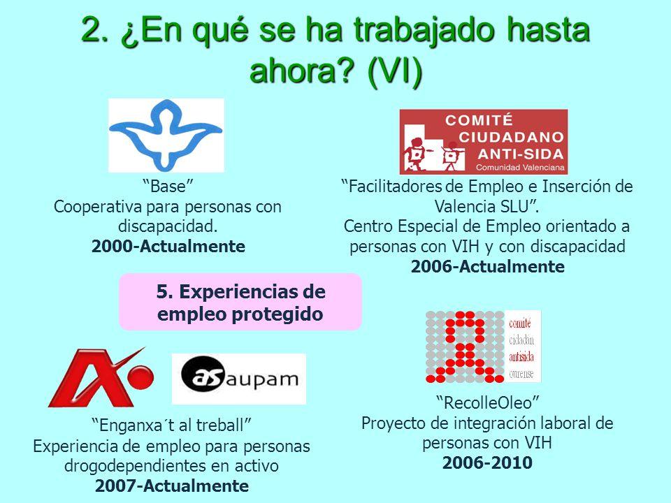 2. ¿En qué se ha trabajado hasta ahora? (VI) 5. Experiencias de empleo protegido Facilitadores de Empleo e Inserción de Valencia SLU. Centro Especial