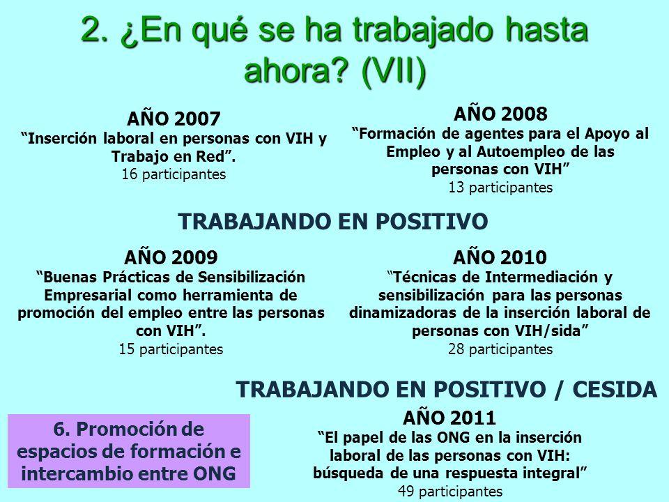 2. ¿En qué se ha trabajado hasta ahora? (VII) 6. Promoción de espacios de formación e intercambio entre ONG AÑO 2007 Inserción laboral en personas con